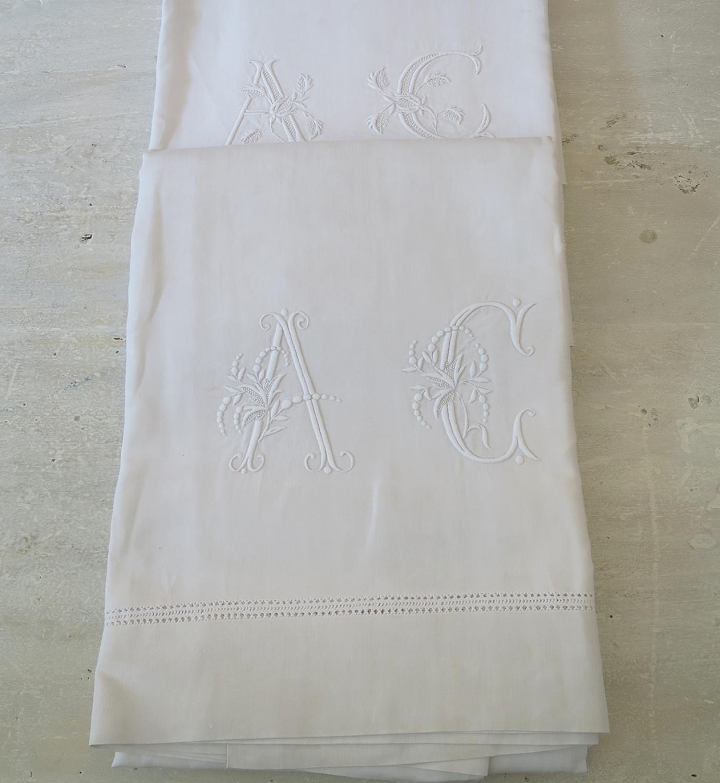 Fine Pair Linen Sheet monogrammed `AC`