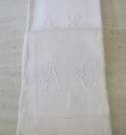 Fine Pair Linen Sheet monogrammed `AC` - picture 2