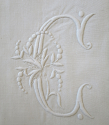 Fine Pair Linen Sheet monogrammed `AC` - picture 6