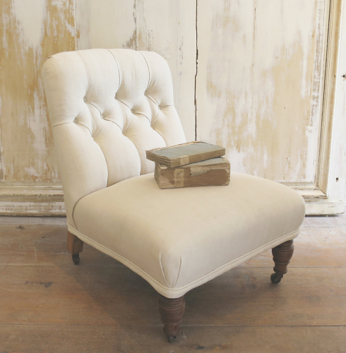 Small Buttoned Chair with original castors