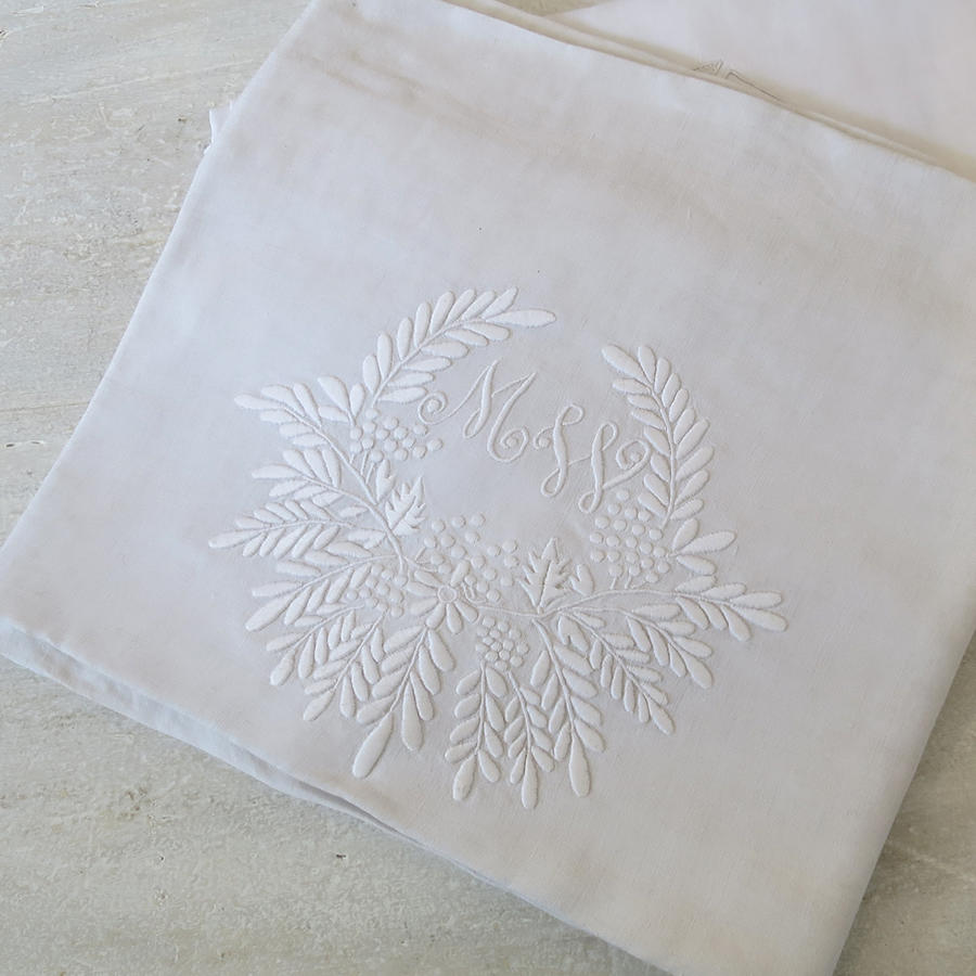 French Linen sheet Monogrammed `MW`