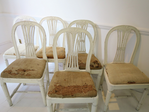 6 19th c Swedish Wheat-sheath Dining Chairs