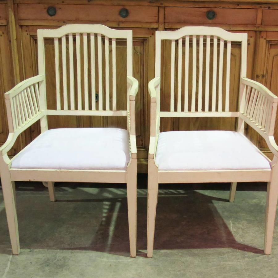 Pair of Swedish Slat-Back Armchairs