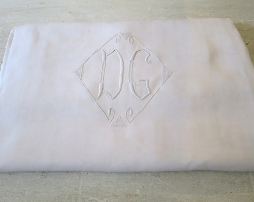 French Linen sheet Monogrammed `DG`