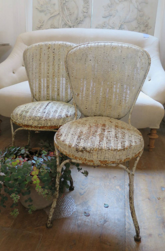 Rare Pair of French Garden Chairs