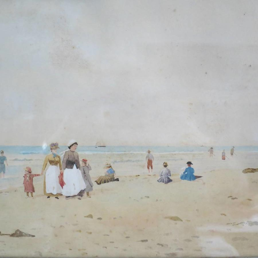 19th c French Watercolour - Beach Scene