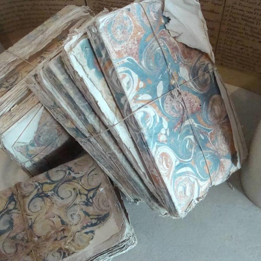 Small  18th c French Marblized Books in Bundles