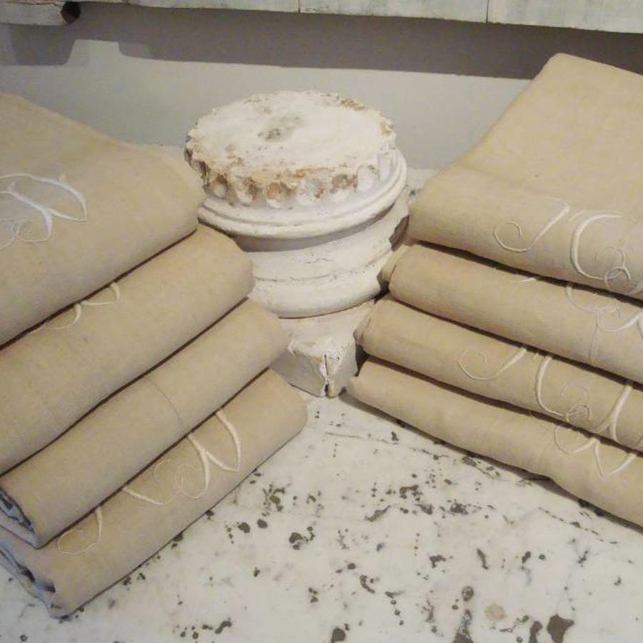 Old French Linen Sheets Monogrammed MD