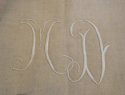 Old French Linen Sheets Monogrammed MD - picture 3