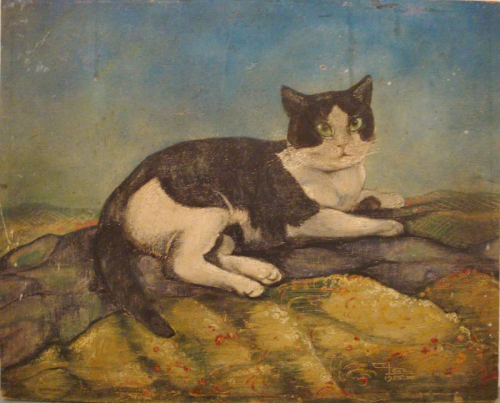 French Naive Painting of Tom Cat