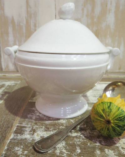 Simple heavy white porcelain Soup Tureen