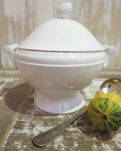 Simple heavy white porcelain Soup Tureen