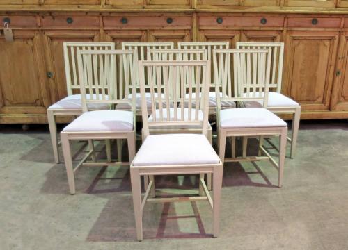 8 Swedish Slat-Back Dining Chairs