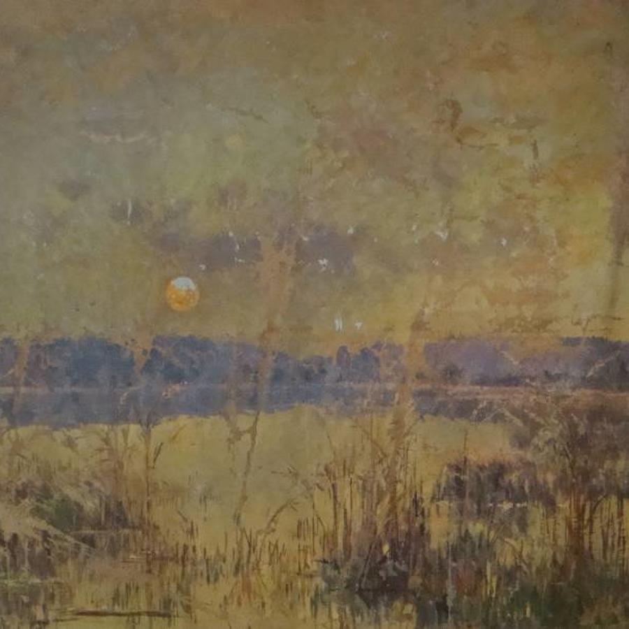 French `Marsh` Landscape Oil on Canvas