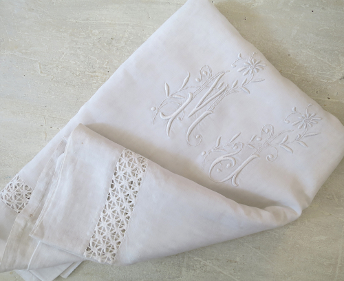 Fine Linen Sheet monogrammed `MJ`