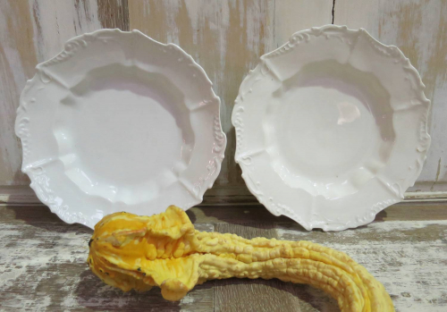 Pair fine White Soup Plates by `Limoges`