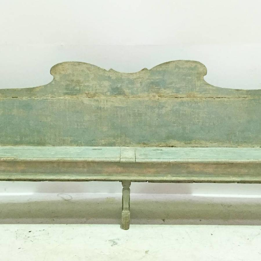 18th c Italian long Green Bench