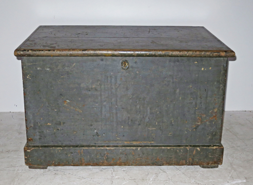 19th c English Painted pine Blanket Box