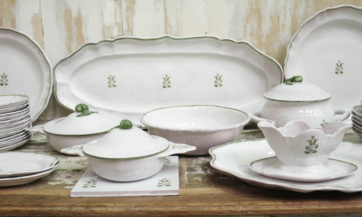 French Faiance Dinner Service by `Moustier`