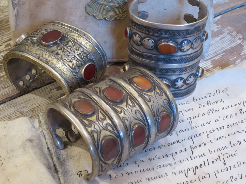 Antique Silver Turkoman `Cuff Bracelets`