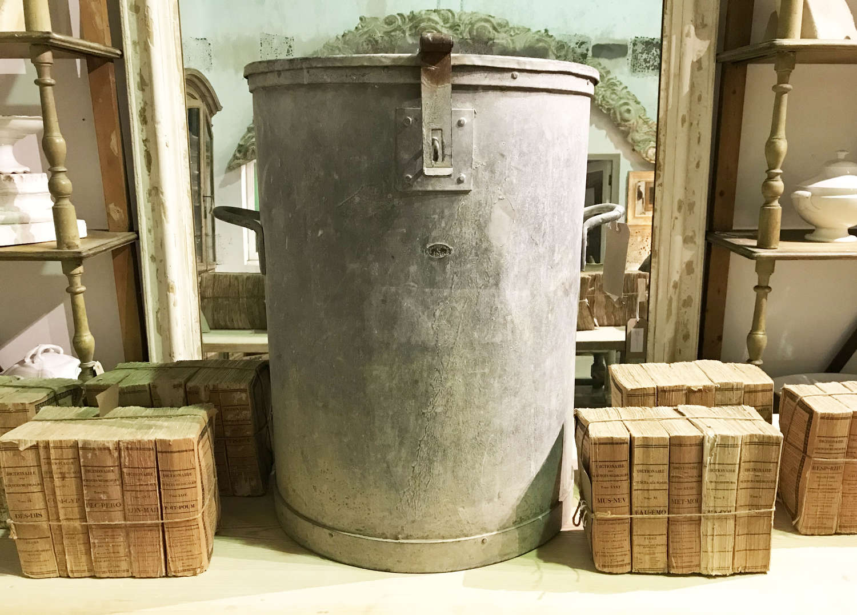Large Zinc Flour Bin circa 1940