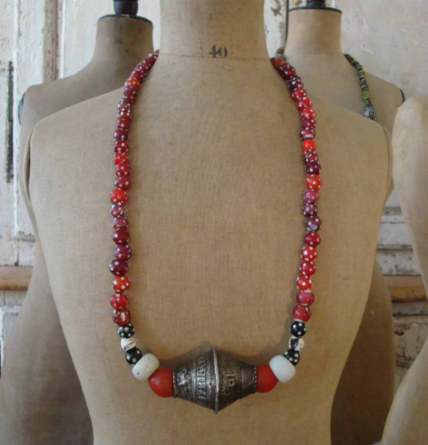 19th century Red glass bead African Necklace