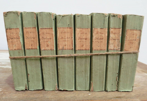 Set of 8 French 18th c Green Books
