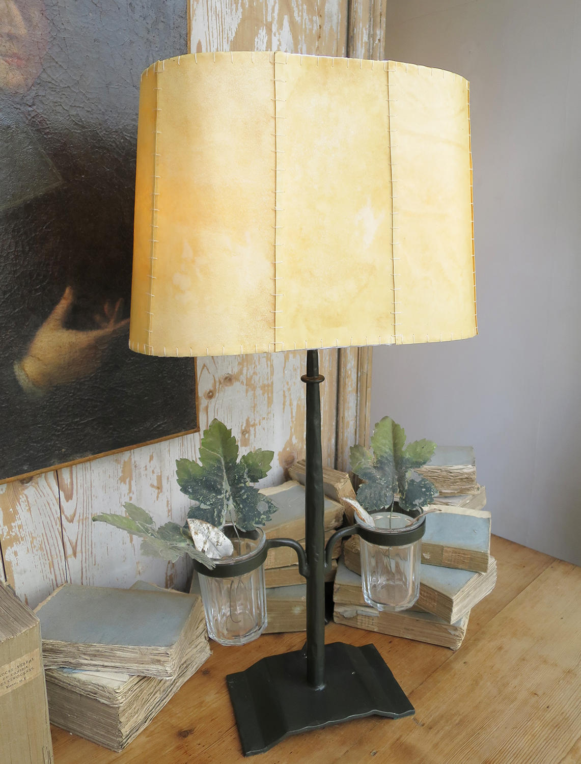 Wrought Iron French Table Lamp with Jars