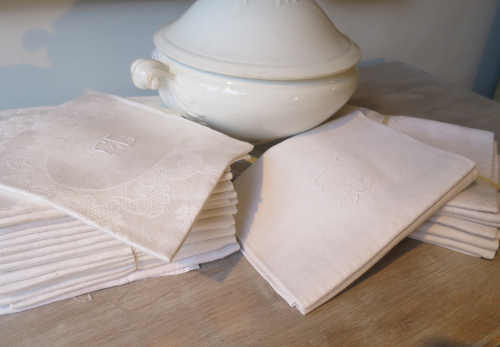 Collection of White Linen Napkins
