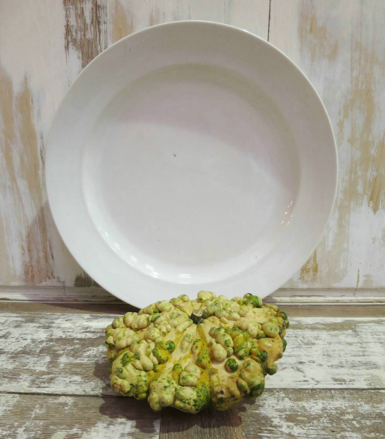 Huge French White Round Serving Platter