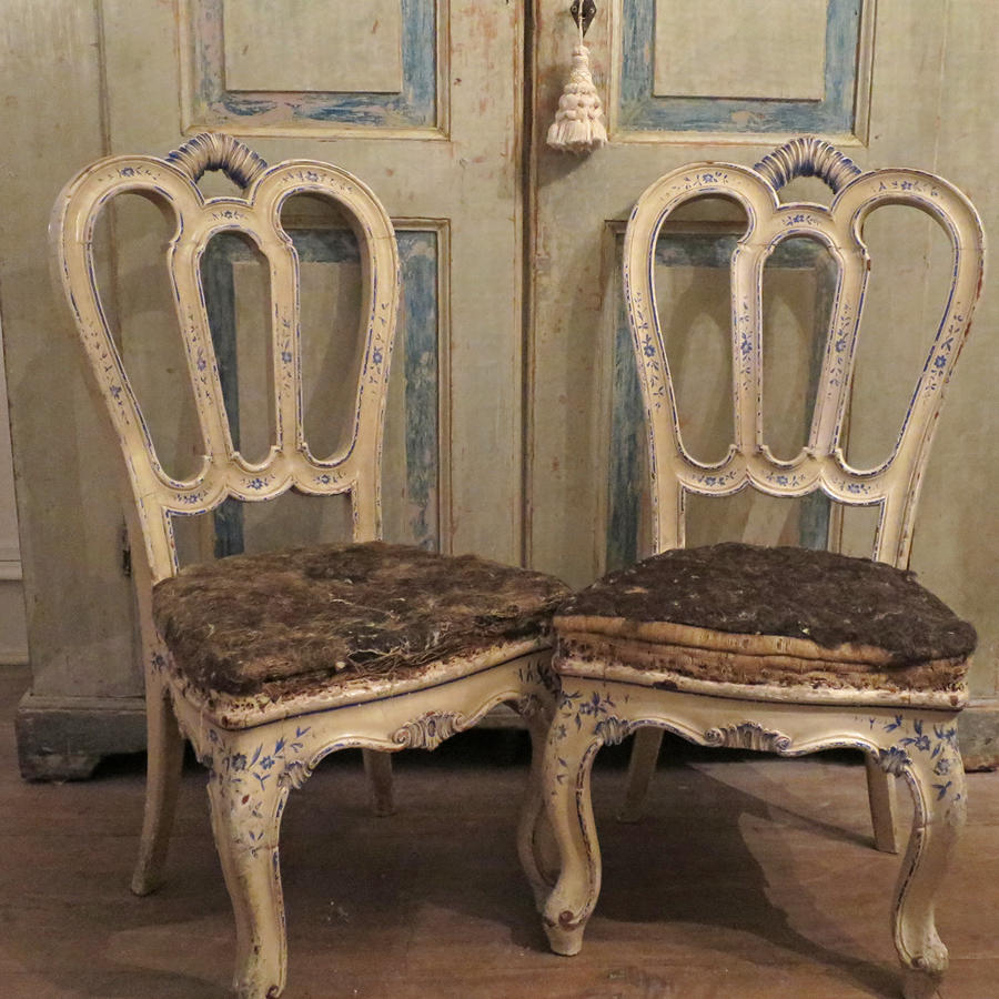 Rare Pair of 18th century Venetian Chairs