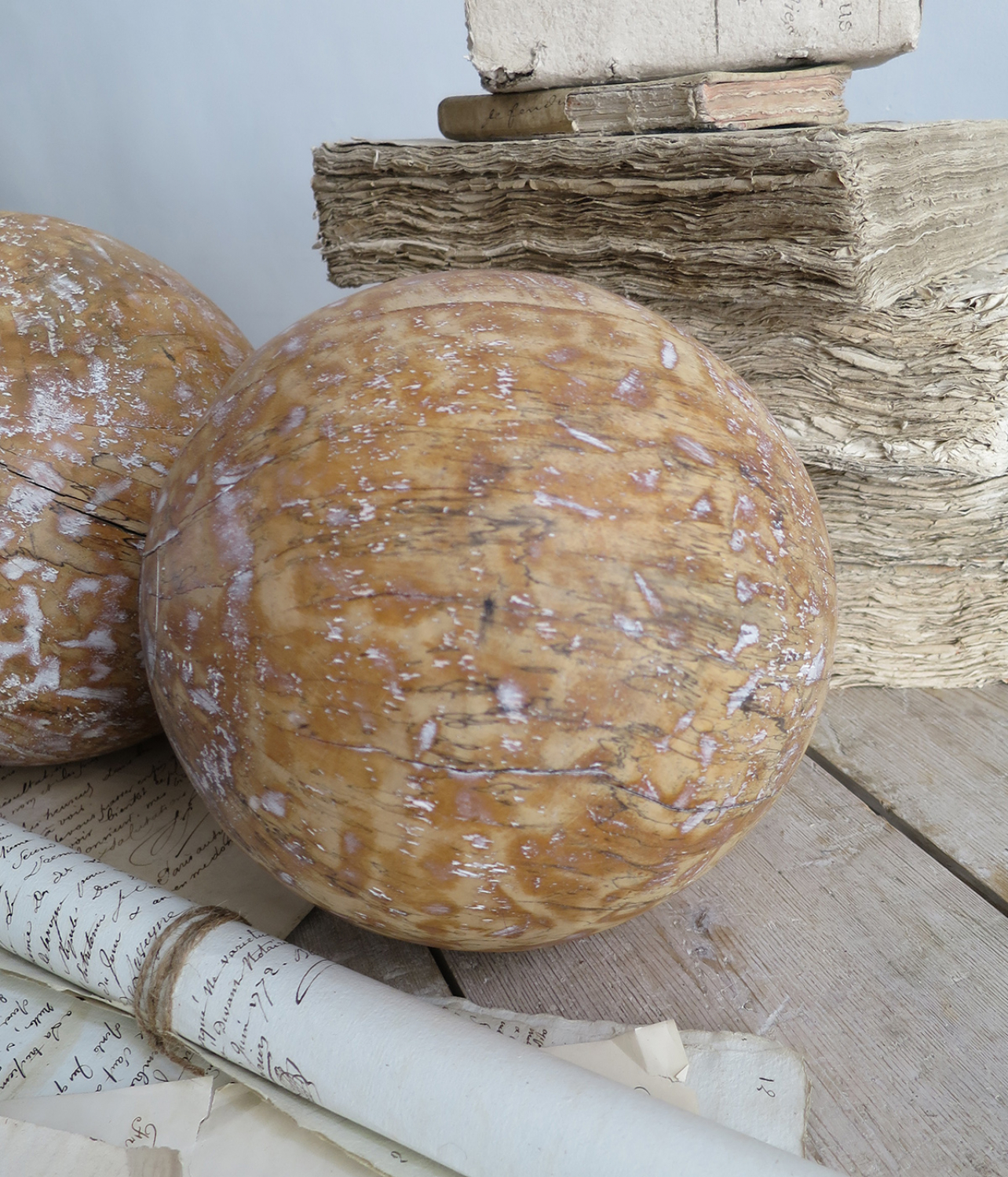 Pair of old wooden Balls