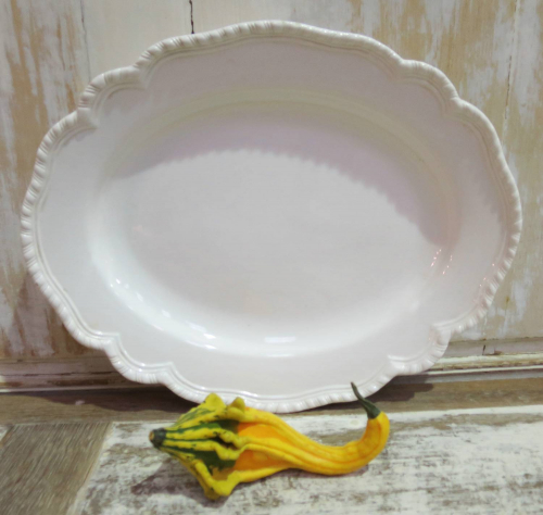 Pretty French off-white Oval Serving Plate