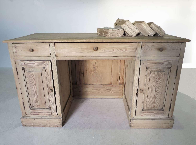 French Pine Pedestal Desk - circa 1900
