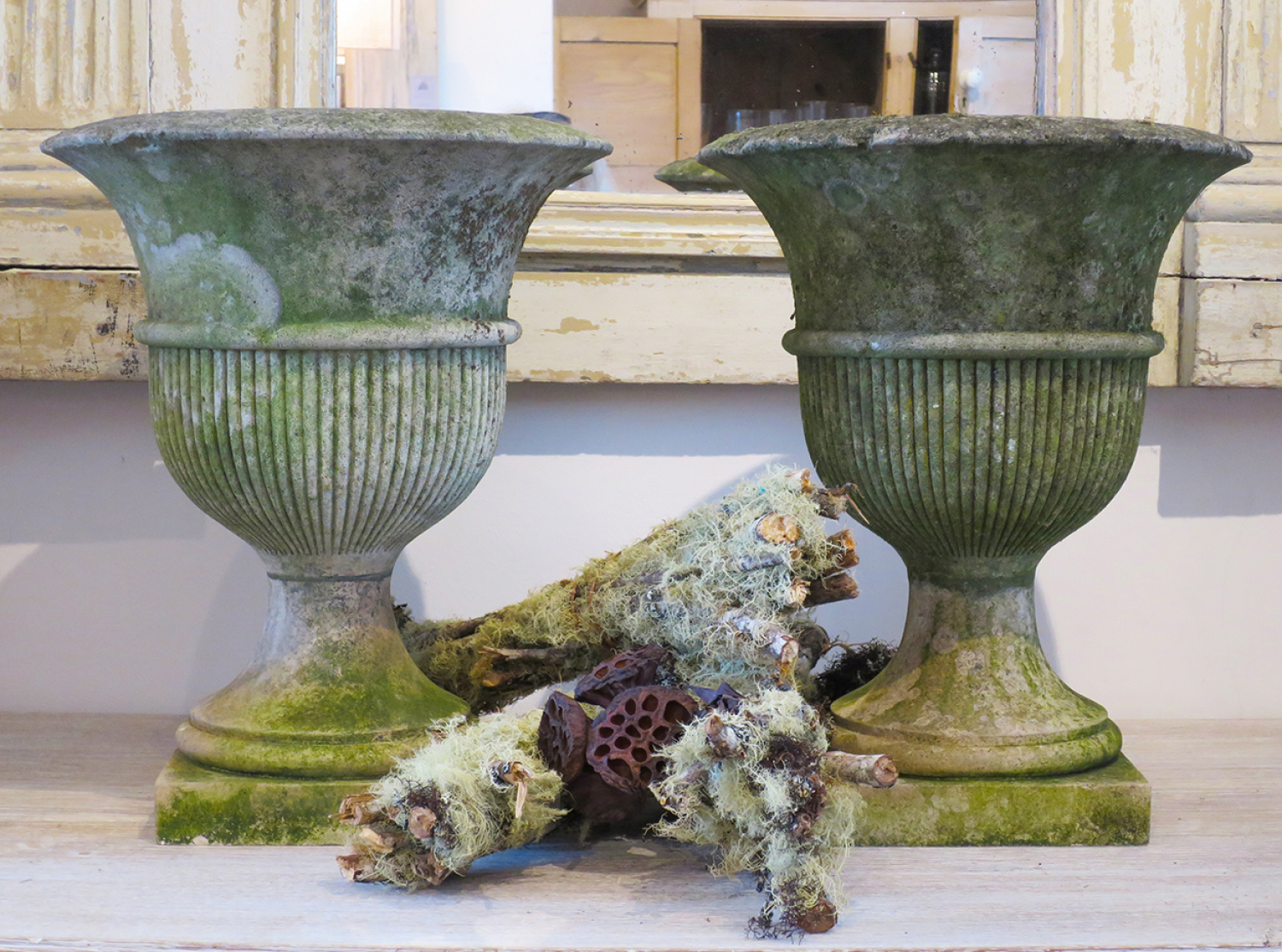 Pair of Portland Stone Regency Vases