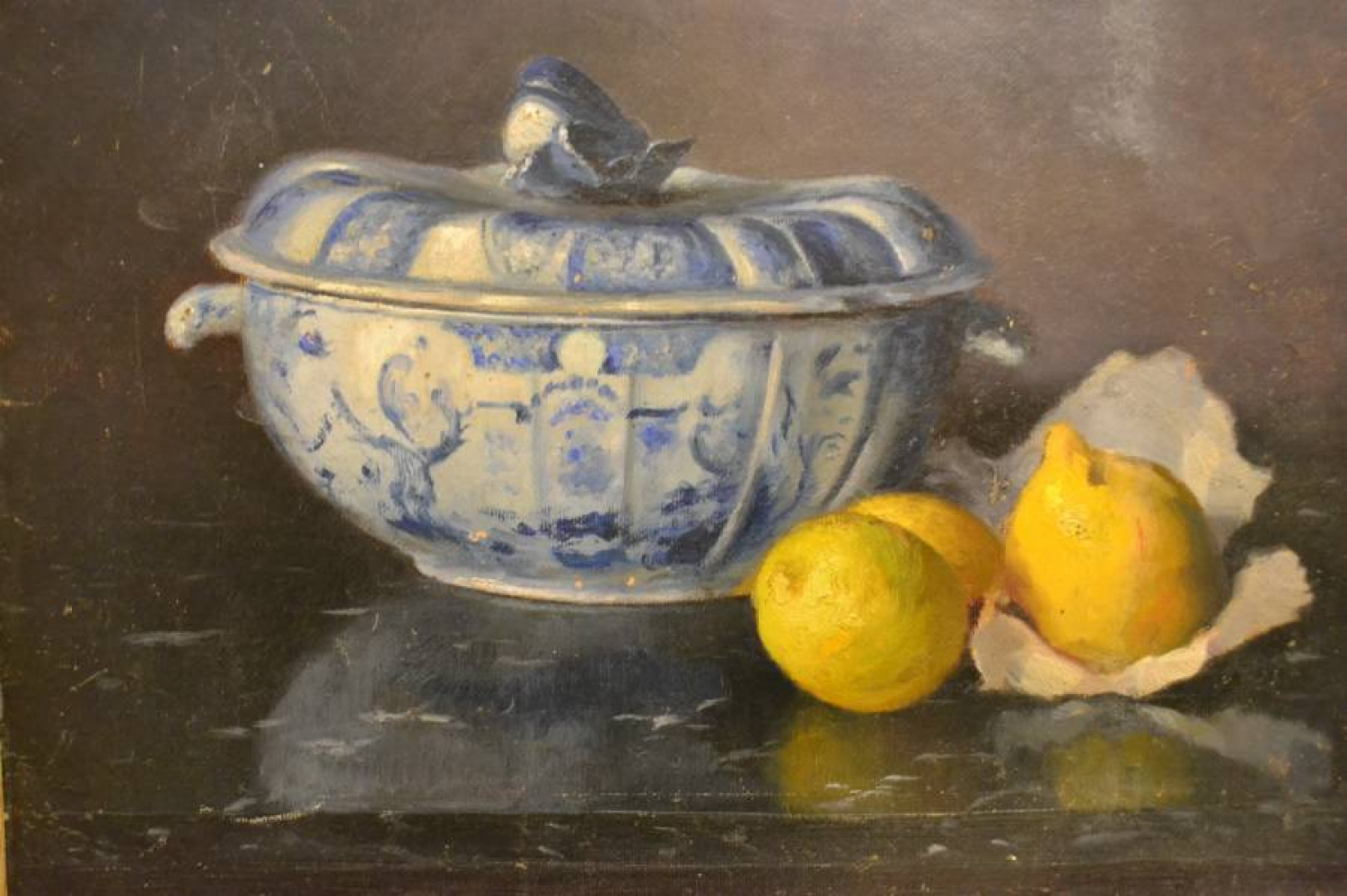 French Still Life, Blue and White Tureen, Signed and Dated