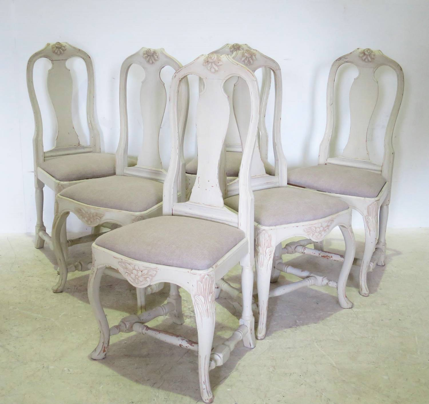 Set of 6 Gustavian style Dining Chairs