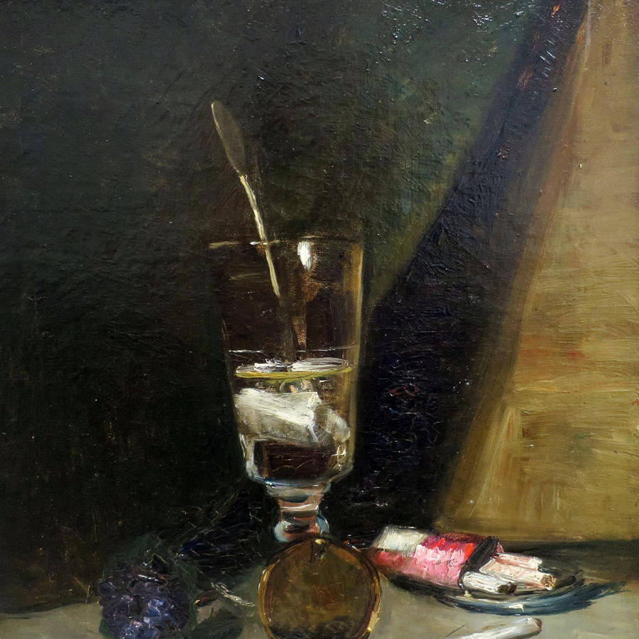 19th c French Still Life Painting of Absinthe Glass