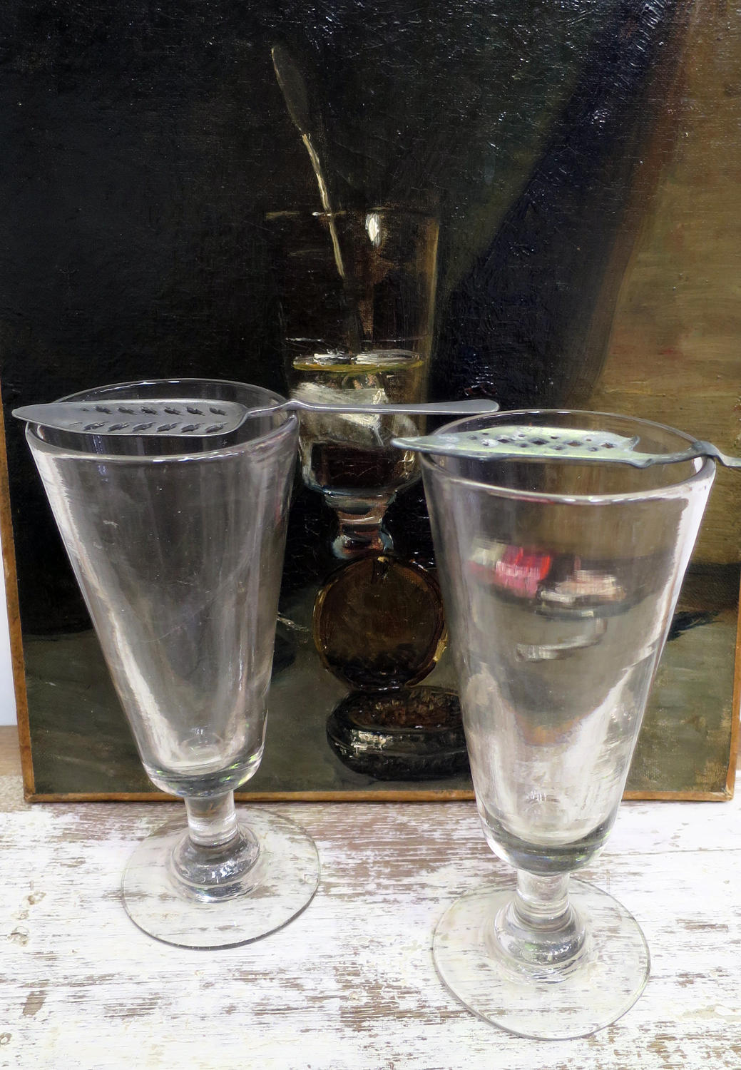 Pair French Absinthe Glasses with their Absinthe 'spoons'