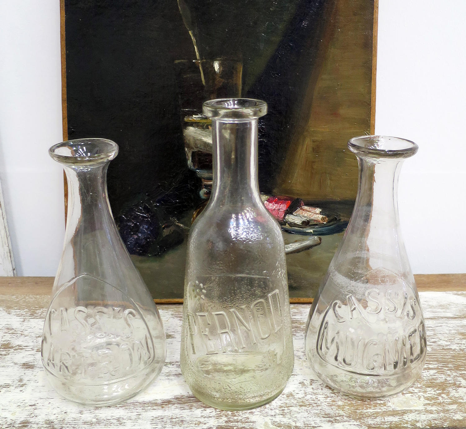 Three French Glass Carafes