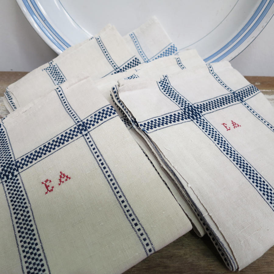 Unusual Bundle of 6 French Blue and White Linen T-Towels