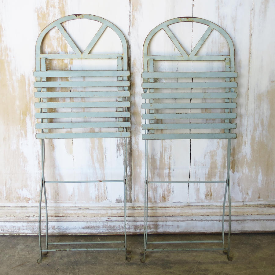 Pair of French Iron Folding Chairs