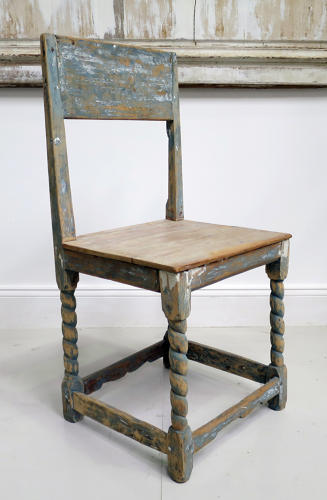 19th century French Pine Chair with Blue Original Paint