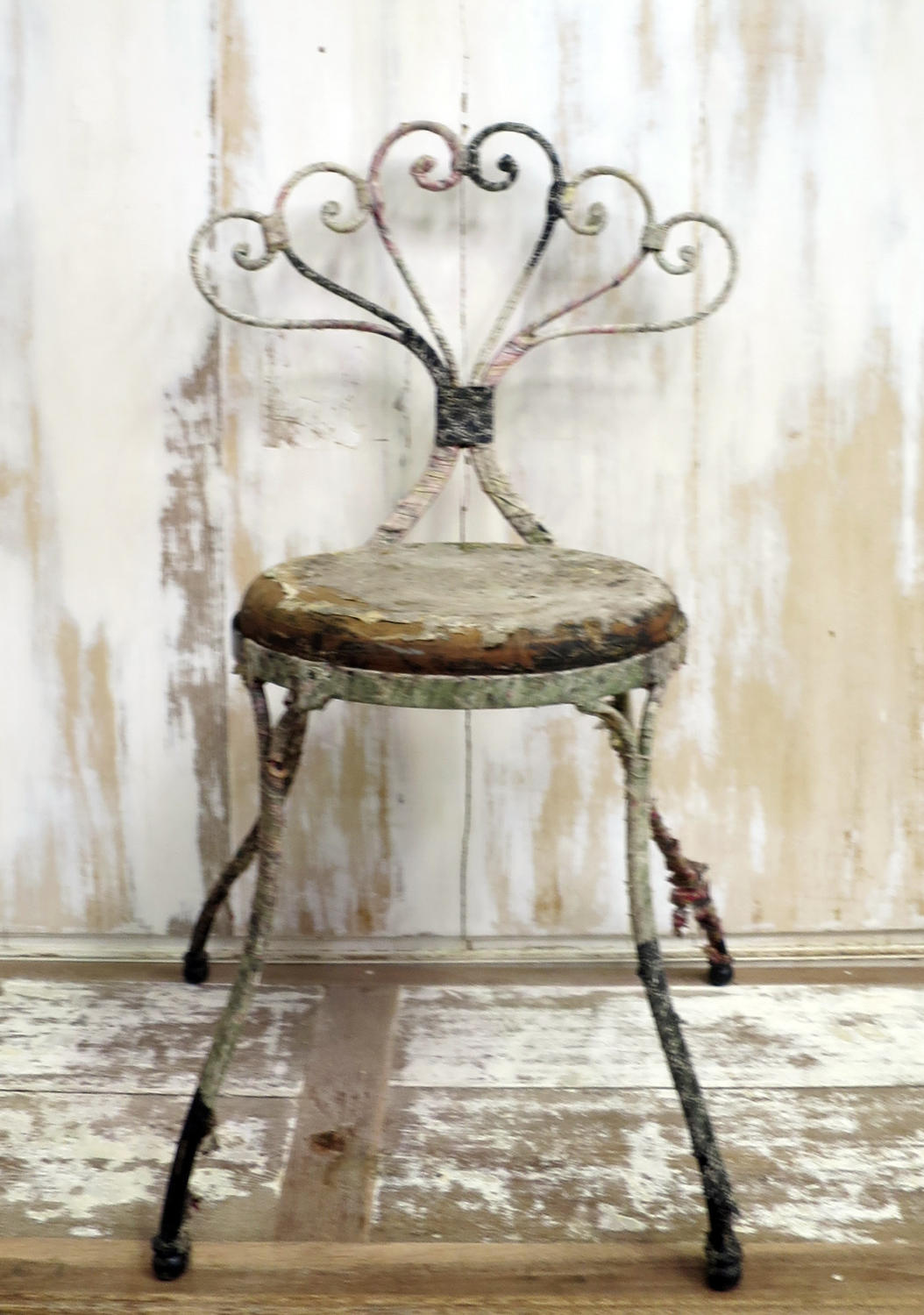19th c French Iron Chair bound with old fabrics