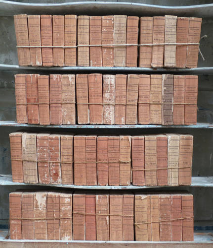 Collection 19th c French terracotta coloured antique books