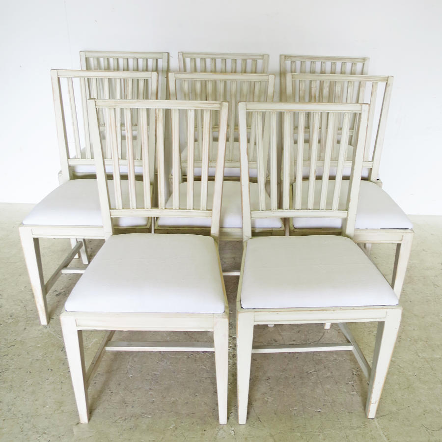 Set of 8 Gustavian Style Slat-back Chairs