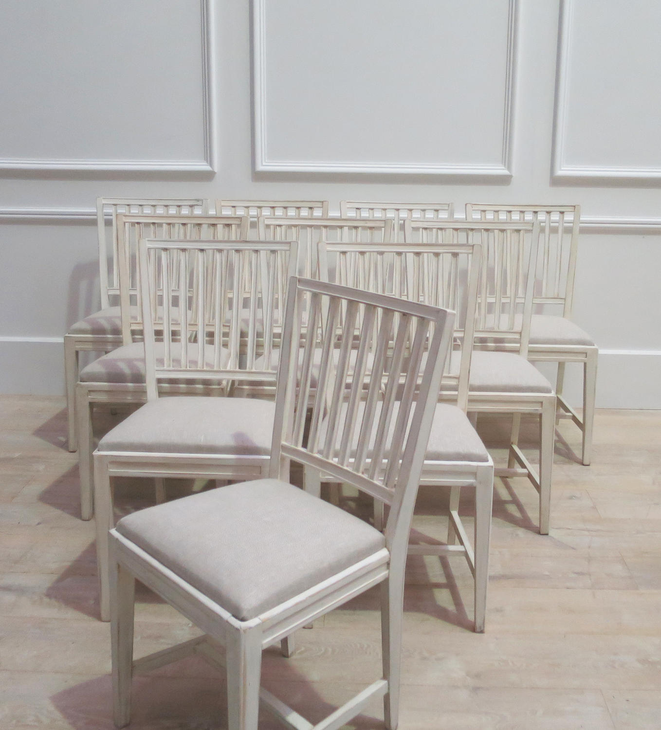 Set of 10 Swedish Dining Chairs with antique linen seats - circa 1950