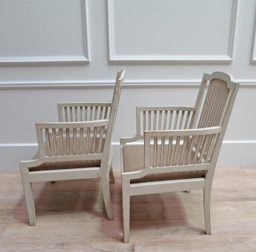 Pair of Swedish Armchairs with antique linen seats - circa 1950