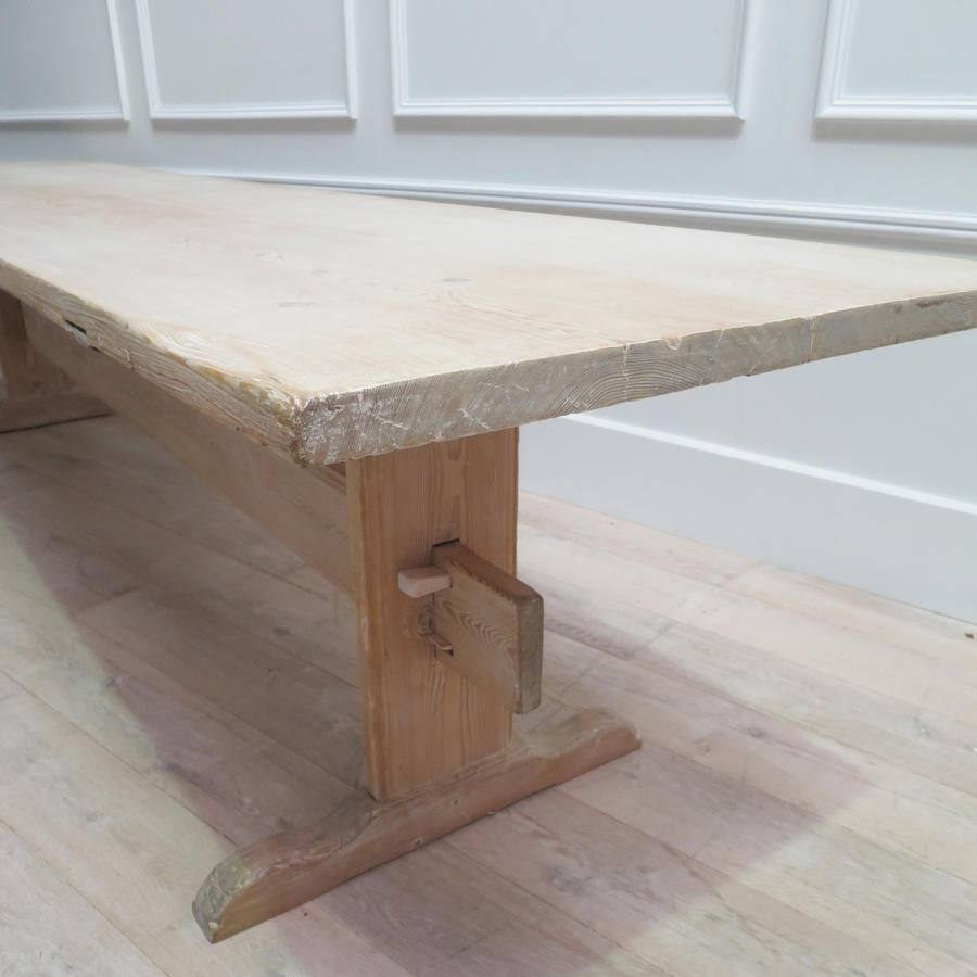 Long 19th century Swedish Stretcher-base Dining Table. Circa 1850