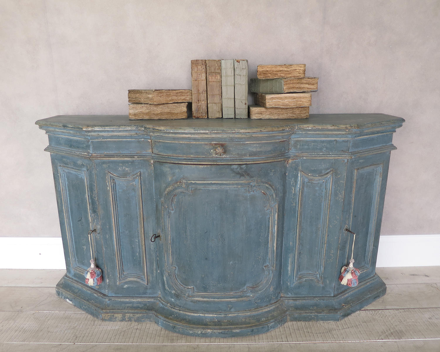 18th c Italian Buffet with orignal blue paint circa 1750
